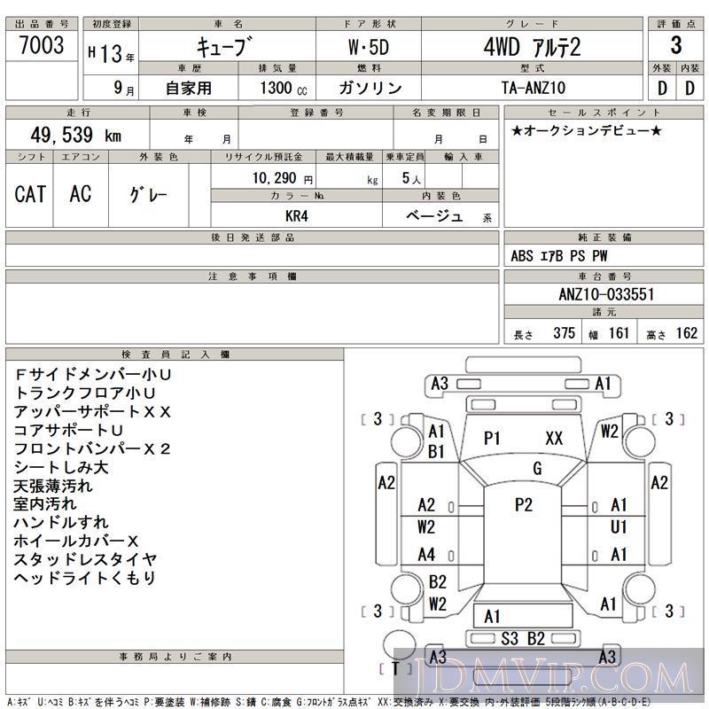 2001 NISSAN CUBE 4WD_2 ANZ10 - 7003 - TAA Tohoku