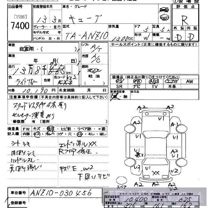 2001 NISSAN CUBE 4WD ANZ10 - 7400 - JU Saitama