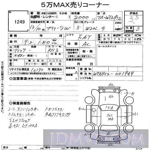 2001 NISSAN PRIMERA WAGON W20L4 WTNP12 - 1249 - USS Tohoku