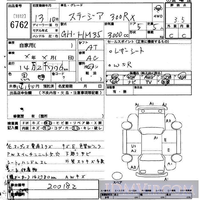 2001 NISSAN STAGEA 300RX HM35 - 6762 - JU Saitama