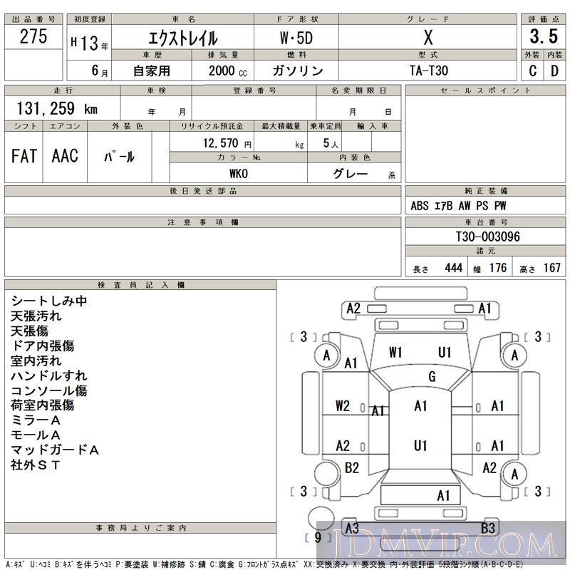 2001 NISSAN X-TRAIL X T30 - 275 - TAA Kyushu