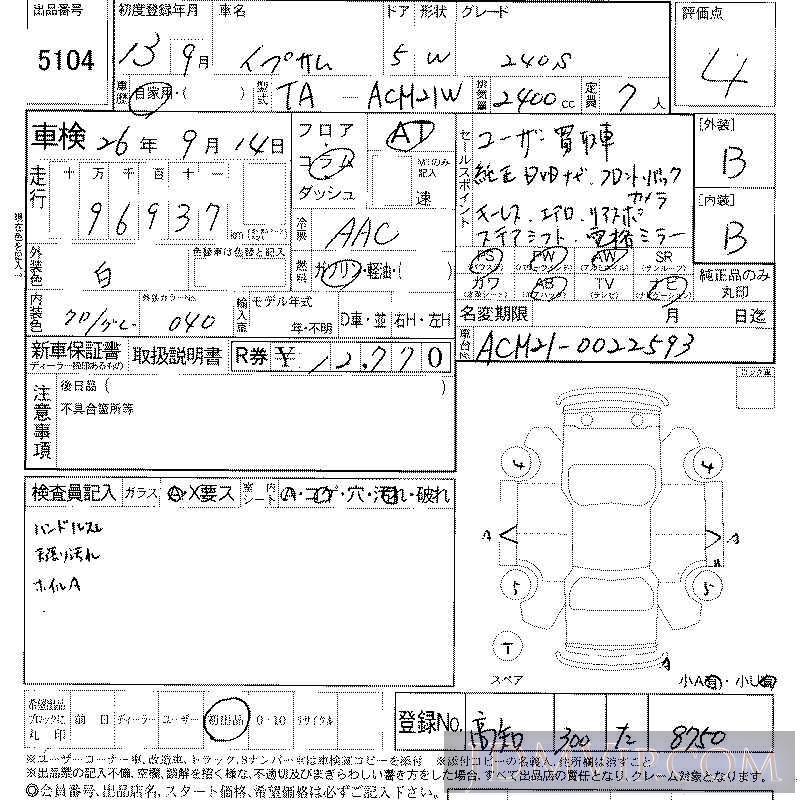 2001 TOYOTA IPSUM 240S ACM21W - 5104 - LAA Shikoku