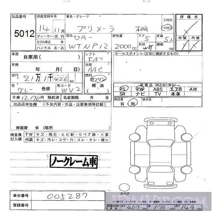 2002 NISSAN PRIMERA WAGON 4WD WTNP12 - 5012 - JU Sapporo