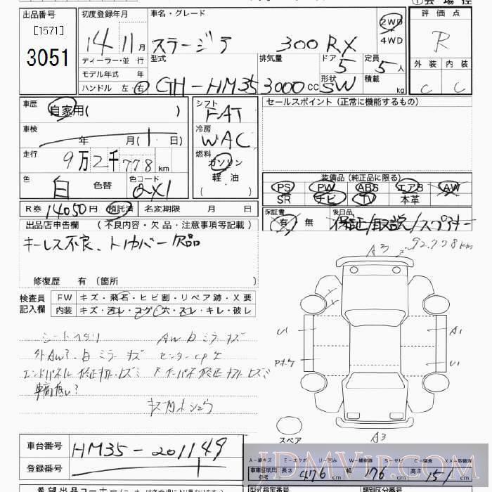2002 NISSAN STAGEA 300RX HM35 - 3051 - JU Tokyo