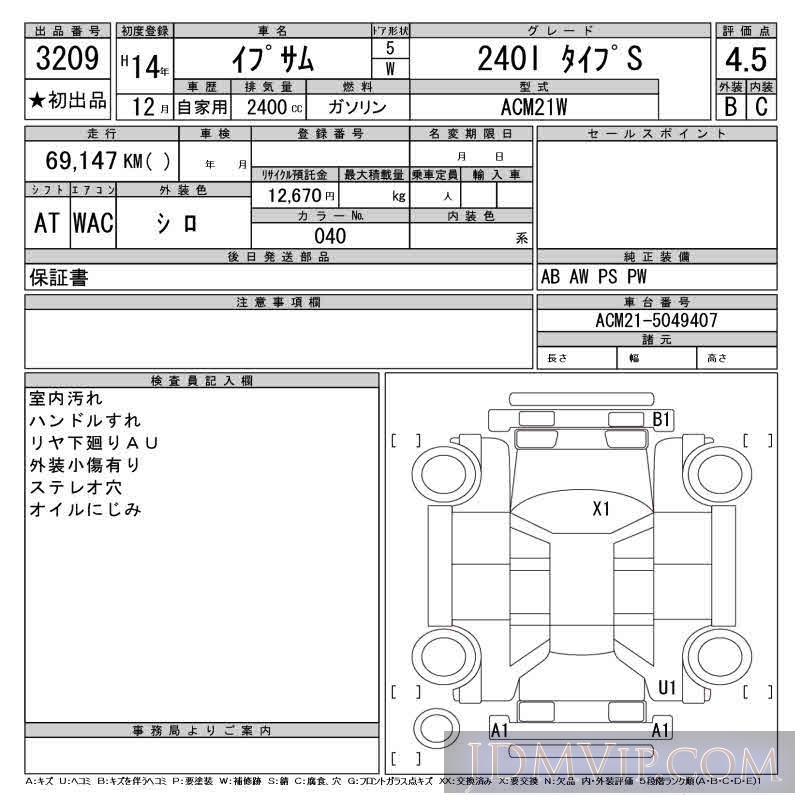 2002 TOYOTA IPSUM 240I_S ACM21W - 3209 - CAA Tokyo