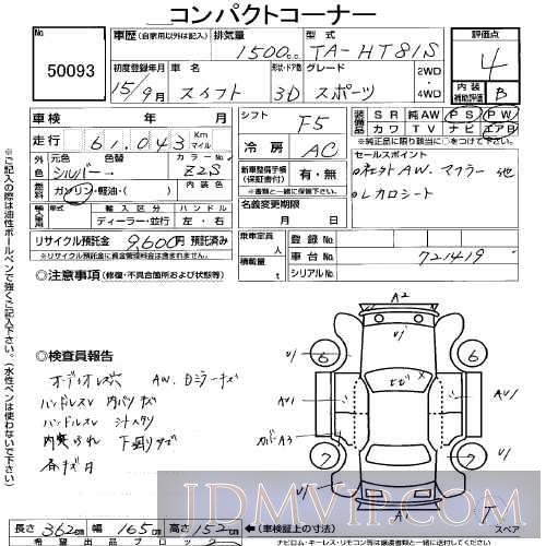 2003 SUZUKI SWIFT _ HT81S - 50093 - USS Tokyo