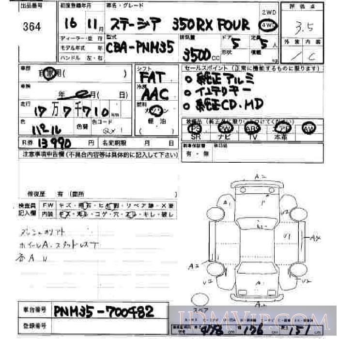 2004 NISSAN STAGEA 350RX_FOUR PNM35 - 364 - JU Hiroshima