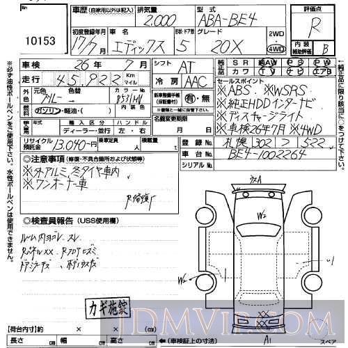 2005 HONDA EDIX 20X BE4 - 10153 - USS Sapporo