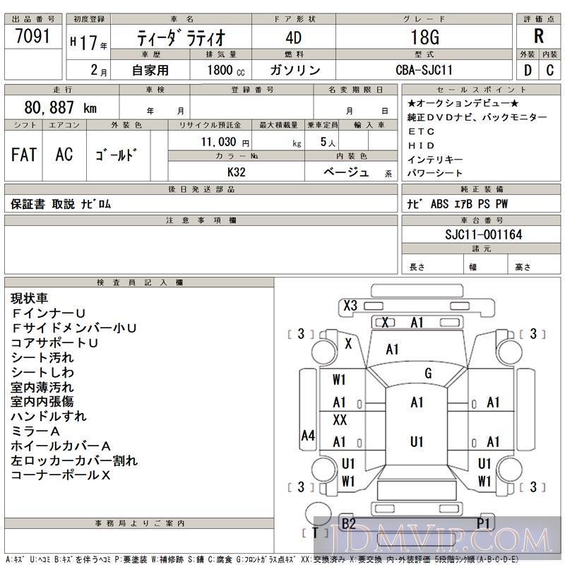 2005 NISSAN TIIDA LATIO 18G SJC11 - 7091 - TAA Kantou