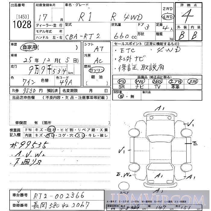 2005 SUBARU R1 4WD_R RJ2 - 1028 - JU Niigata