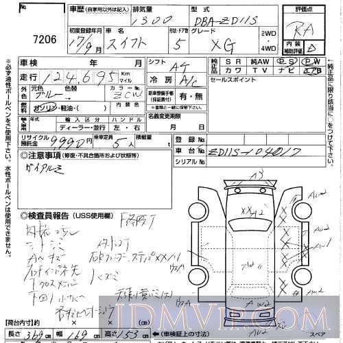 2005 SUZUKI SWIFT 1.3XG ZD11S - 7206 - USS Gunma