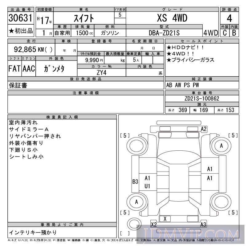 2005 SUZUKI SWIFT XS_4WD ZD21S - 30631 - CAA Chubu