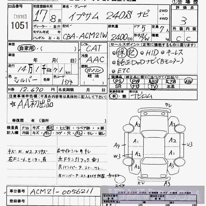 2005 TOYOTA IPSUM 240s_7 ACM21W - 1051 - JU Saitama