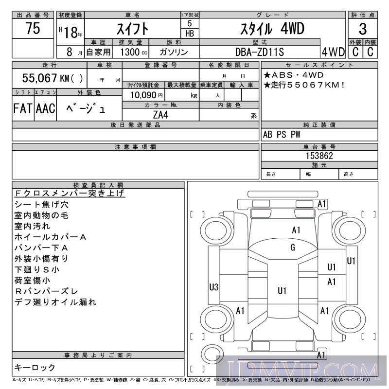 2006 SUZUKI SWIFT _4WD ZD11S - 75 - CAA Tohoku