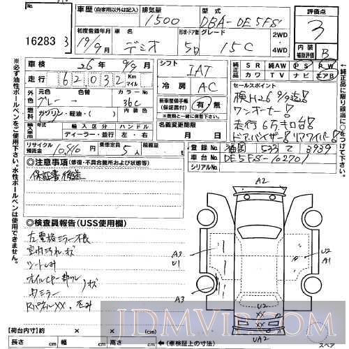 2007 MAZDA DEMIO 15C DE5FS - 16283 - USS Kyushu
