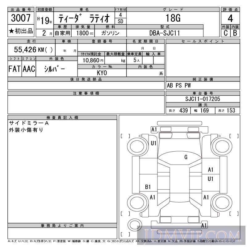 2007 NISSAN TIIDA LATIO 18G SJC11 - 3007 - CAA Tokyo