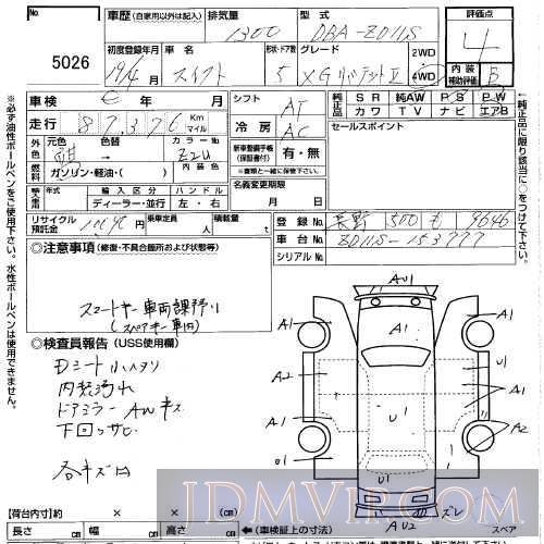 2007 SUZUKI SWIFT 1.3XG_LTD2 ZD11S - 5026 - USS Gunma