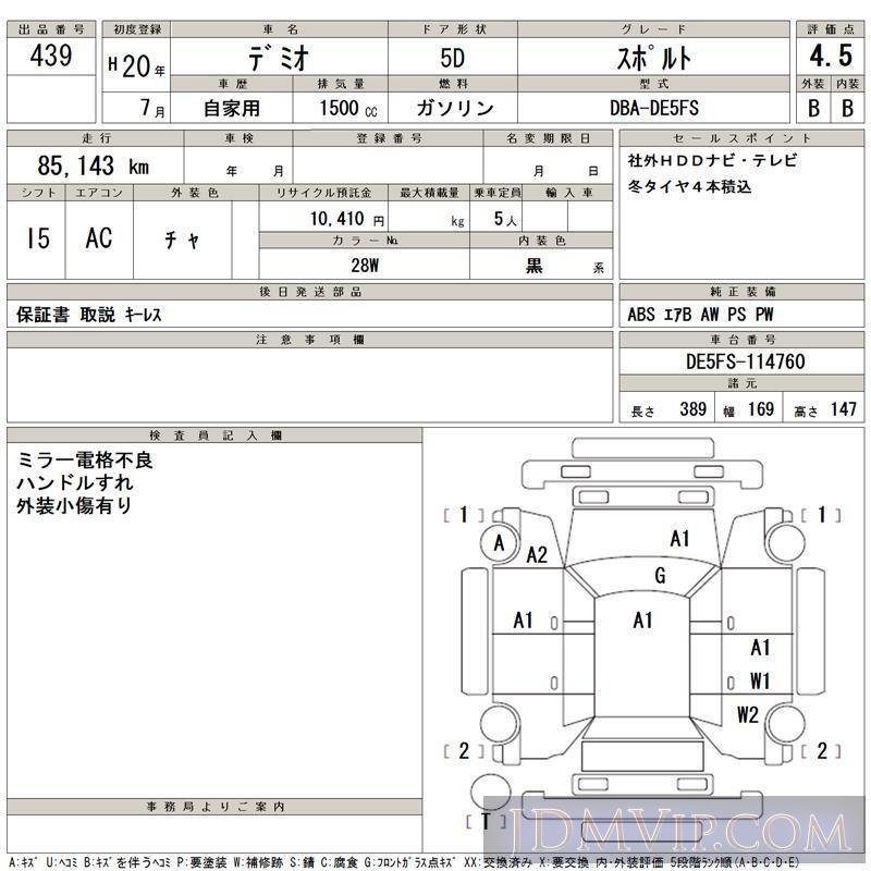 2008 MAZDA DEMIO  DE5FS - 439 - TAA Hiroshima