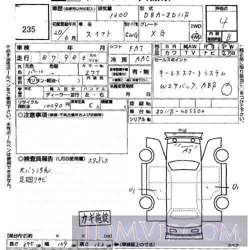 2008 SUZUKI SWIFT 1.3XG ZD11S - 235 - USS Sapporo