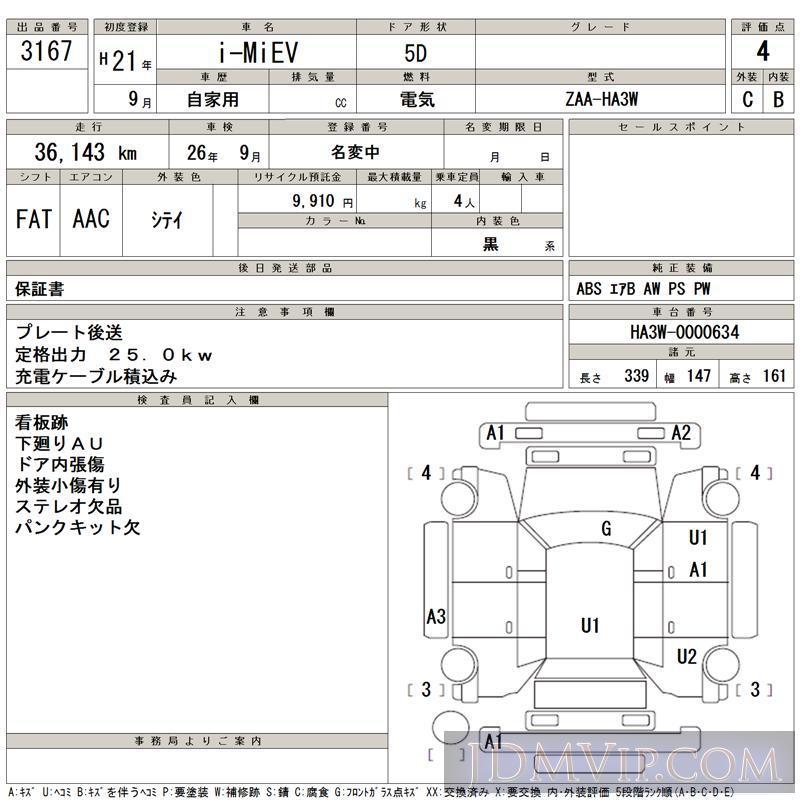 2009 MITSUBISHI I-MIEV  HA3W - 3167 - TAA Hiroshima