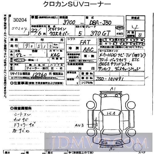 2010 NISSAN SKYLINE CROSSOVER 370GT J50 - 30204 - USS Tokyo